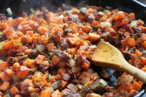 Sweet potato and beef hash