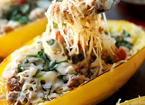 Spaghetti squash with veggies and turkey