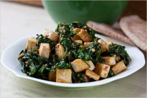 Sauteed Spinach with Tofu
